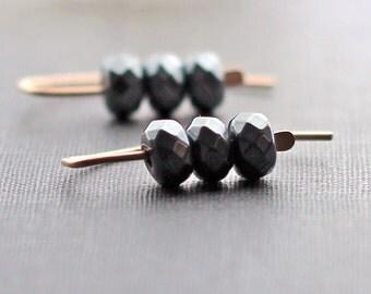 Hematite Earrings, Rose Gold Earrings, Stacked Bead Earrings, Metallic Gray Earrings