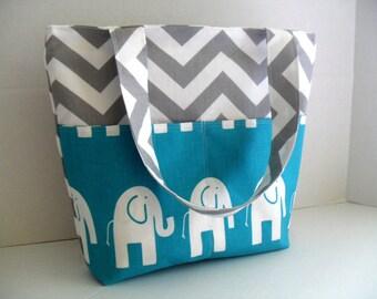 Diaper Bag -Turquoise Elephant - Zipper Closure - Chevron Diaper Bag - Project Bag - Tote Bag - Personalized