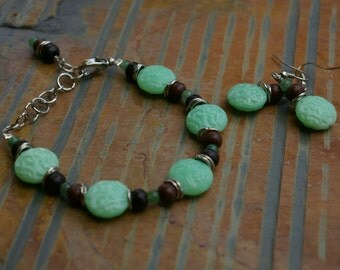 Envious Glass and Wood Beaded Bracelet Nickle Free