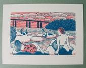 """12 x 16 Screenprint """"Belle Isle Afternoon"""" // river art / beach art / beach scene / summer art / bridge art / Richmond, VA / pink / teal"""