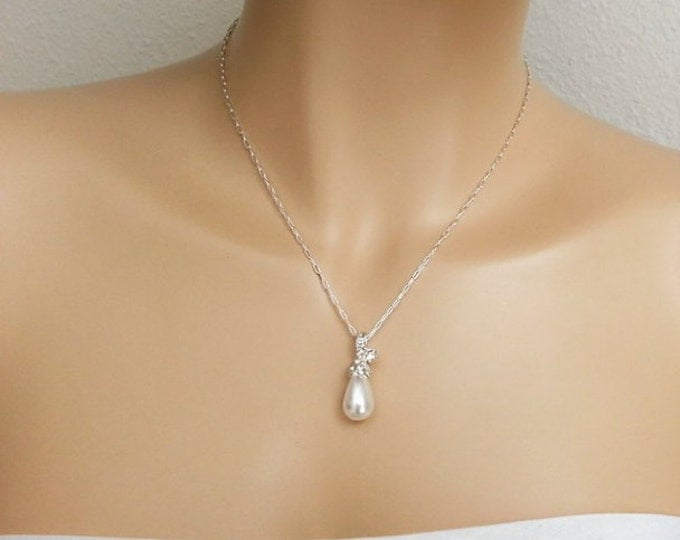 Single Pearl Drop Zircon Necklace with Sterling Silver Chain