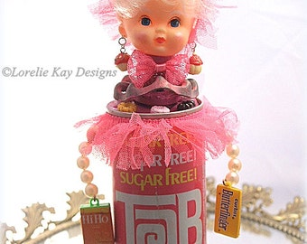 Tab Soda Dot The Dieter Assemblage Art Doll Kitschy One-of-a-kind Mixed Media Sculpture