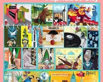 NEW DESIGN - Alphabet Animal Poster Art - Pink - Animals A thru Z Frolick thru New York City - Alphabet City - Nursery Baby Girl