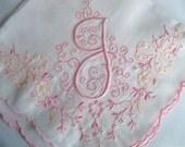 Vintage Monogram J Handkerchief with Beautiful Pink Madeira Embroiery