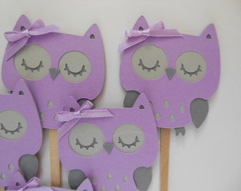 Owl Cupcake Toppers - Lavender and Gray - Girl Birthday Party Decorations - Girl Baby Shower Decorations - Set of 6