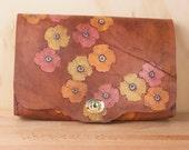 Leather Bookworm Clutch - Poppy Garden pattern - Flower Clutch Purse Wristlet Waist Bag - Leather in Pink, Orange, Yellow & antique mahogany