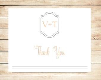 Monogram Wedding Thank You Card Stationery - Blush and Gray Stationary