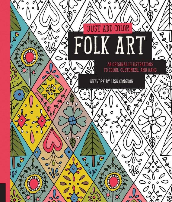 Folk Art Coloring Book Lisa Congdon : SALE: Folk Art Coloring Book