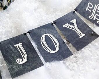 LOVE SALE Joy to the World Holiday Garland, chalkboard style design, christmas banner, holiday garland, holiday celebration, xmas garland, x