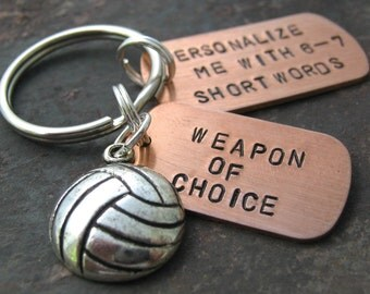 PERSONALIZED VOLLEYBALL Keychain, Weapon of Choice, hand stamped, many sports available, great senior gifts, athletic, coach