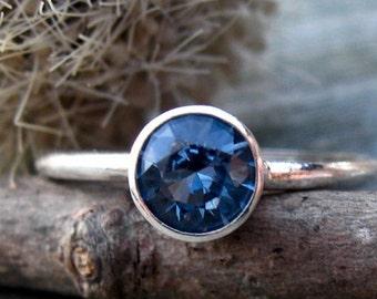 Blue zircon sterling silver ring