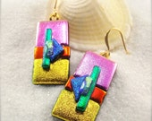 Color block earrings, dangle earrings,womens handmade earrings,jewelry handmade,gifts for her,unique wedding gift, dangle, dichroic earrings