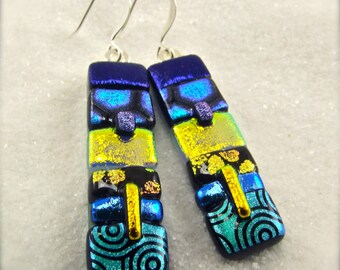 Statement earrings, dichroic glass earrings, accessories for outfits, gifts for her, blue turquoise earrings,bold glass jewelry, silver wire