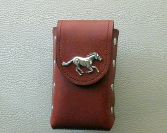 Leather Cigarette Case,  Horse Design Cigarette Case, Rust Leather Cigarette Case