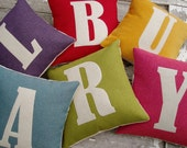 LARGE letter cushion/pillow oatmeal felt & bright coloured cottons.