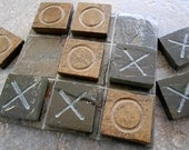 TIC TAC TOE - Classic Game, Outdoor Game - Hand Carved Natural Slate Stone - Suitable for Outdoor Use, Porch Decor, Garden Decor, Yard Game