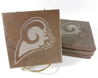 Sports Coasters: RAMS FAN, 4 Etched Slate Coasters, Handmade Hand Carved Stone Coasters, Man Cave Game Room Decor, Boyfriend Football Gifts