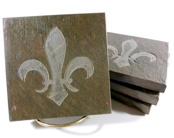 Fleur de lis Coasters - Quality Etched Slate Stone Drink Coasters Gifts for Her Women Mother Friends Moving Wedding Anniversary Housewarming