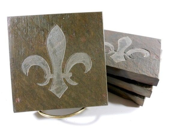 Stone Coasters: Fleur de lis Coasters, Handmade Coaster for Drinks, Carved Slate Coasters, Etched Coasters, Fleur De Lis Decor, Wedding Gift