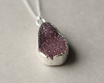 Silver Druzy Necklace, Druzy Jewelry, Drusy Necklace, Geode Pendant, Sterling Silver Druzy, Organic Jewelry, Drusy Jewelry, Druzy Pendant