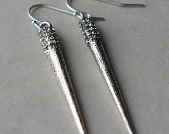 Silver Spike Earrings, Long Metal Spikes, Dangle Earrings, Metallic Jewelry, Rhinestone Spike Jewelry, Holiday Jewelry, Stocking Stuffer