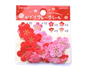 Plum Blossom Sticker Flakes - Chiyogami Stickers - Flower Stickers - Japanese Stickers