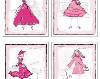 Paris Art For Girls Fashion Bedding Black, White, Pinks and Gray Art Prints- choose your color set