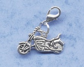 Build Your Bracelet - Silver Harley Motorcycle Charm Clip on Add a Charm Jewelry OR for a Pet Collar Sb-BI002