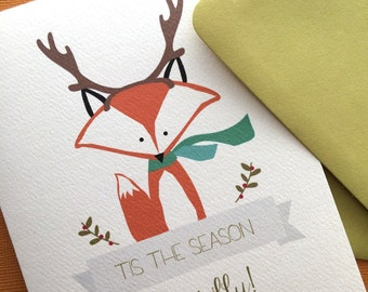 Antlers ,Fox Christmas greetings set of 6