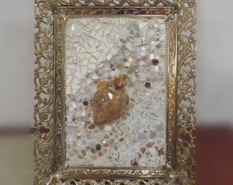 mixed media mosaic turtle broken china mother of pearl filigree metal frame