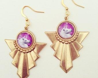 Unicorn Fantasy Art Deco Earrings