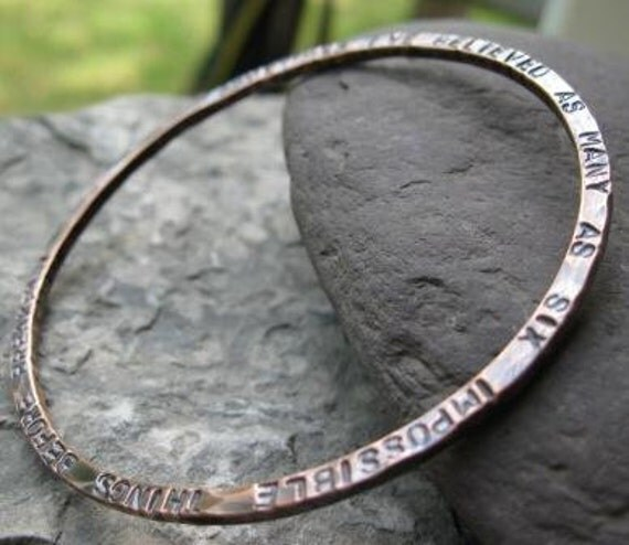 quote bangle bracelet in copper . (( Dance in the Rain )) . thick copper customized bangle bracelet . made to order in your size