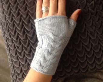Baby Blue Mittens - hand-knit gloves textured in light blue