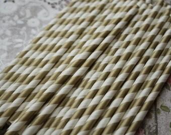 50 Gold Stripe Party Straws, Paper straws