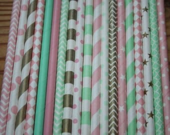 30 Gold, Pink, Mint Green Paper Straws Vintage Glam Party