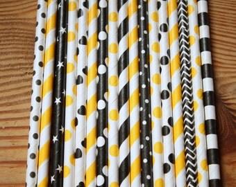 30 Honey Bee's Party Straws-black and yellow straws - Batman party