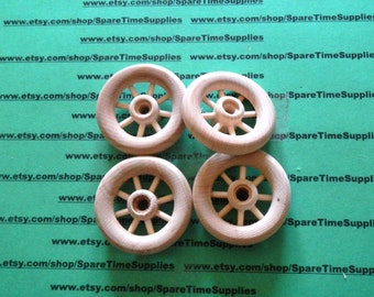 "SW2000WW4 - Spoke Wheels - 2"" diameter - 1/4"" hole - unfinished wood - 4 pcs"