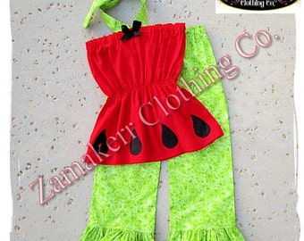 Girl Outfit Custom Boutique Watermelon Clothing Summer Halter Pageant Red Top Pant Toddler Set 3 6 9 12 18 24 month size 2t 2 3t 4t 5t 6 7 8