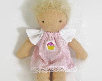 7 inch, 8 inch, 9 inch Waldorf pink gingham and cupcake doll dress and optional knickers, pink toy clothing, tiny doll dress