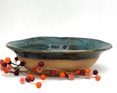 Hand Thrown Serving Bowl - Ready to Ship - Fruit Bowl - Decorative Bowl - Textured Bare Bottom - Stoneware Pottery