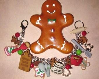 Christmas Charm Bracelet, Christmas, Jewelry, Gingerbread Man, Cookies, Baking, Charms, Beads, Bracelet, Handmade, Holiday, Accessory, OOAK