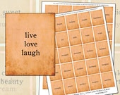 Inspirational Words No.1 Peach two sheet set for Planner digital collage sheet Morning Day Night 1.9 in x 1.5in 3.8cm x 4.8cm