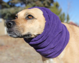 Polar Fleece snood for Small Dog - Purple - Dog Snood, ear warmer, neck warmer, turtleneck for small dog