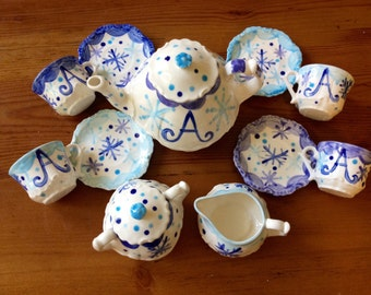 Frozen Snowflakes inspired tea party.... Personalized Tea Set and 4 Matching Tea Cups