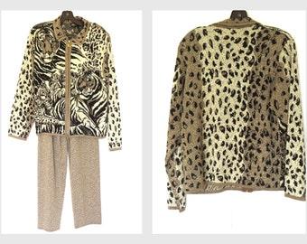 Holiday Party Pant Suit 80s Metallic Animal Print Pant Suit Sz M