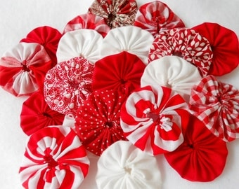 "Christmas Peppermint Cupcake Toppers Fabric Flowers 2"" Button 50 YoYo Birthday Party Wedding Hair Bobby Pin Scrapbook Wholesale Handmade"