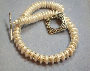 White Coin Pearl and Crystal Necklace (886)