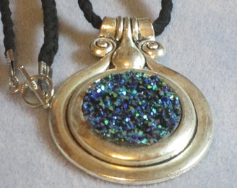 Dichroic Glass Pendant Necklace (881)
