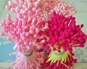 Sale.  Vintage / Millinery Floral Supplies / Double-Ended Floral Stamens / Four Unaltered Bundles / Flower Centers