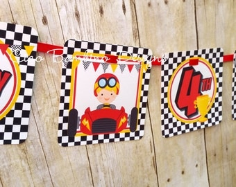 Race Car Happy Birthday Banner / Personalized with Name and Age / Racing Birthday Party Banner / Choose Hair & Skin Color of Driver
